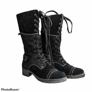 Softmoc Deedee Lace up suede black boots size 37